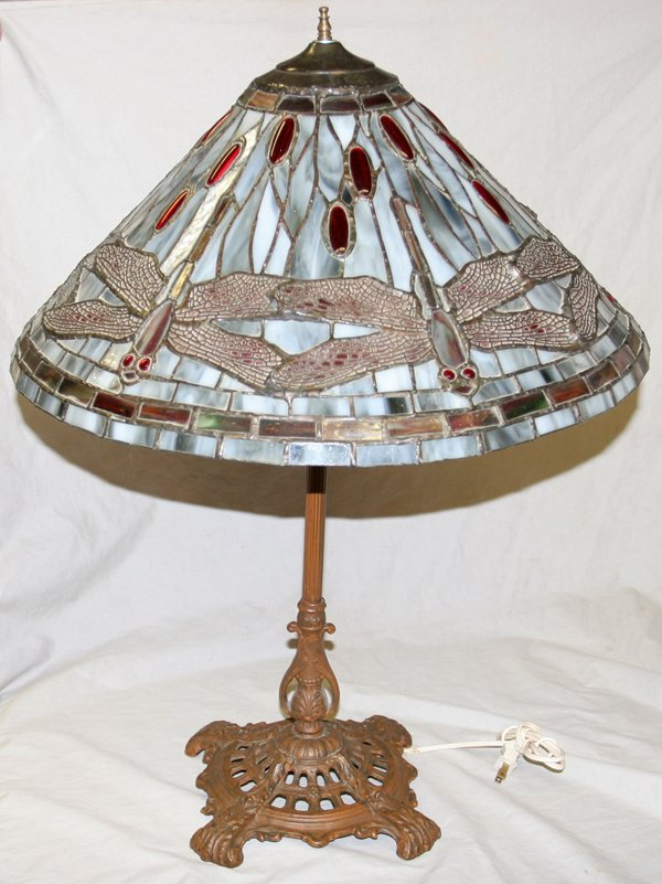 070024: LEADED GLASS DRAGONFLY SHADE & IRON BASE