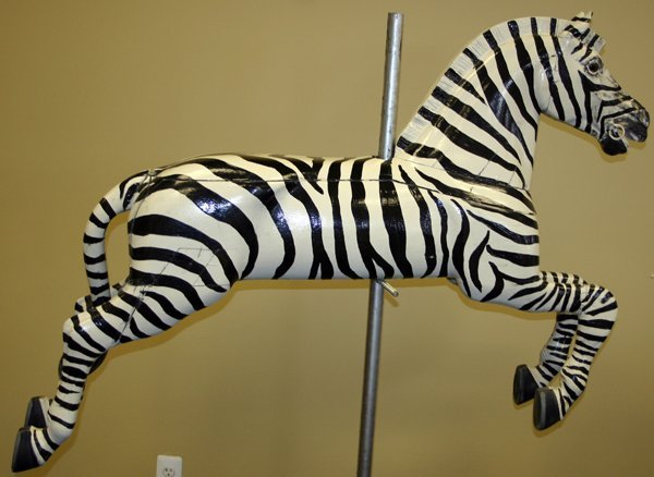 070066: CARVED WOOD HAND PAINTED CAROUSEL ZEBRA
