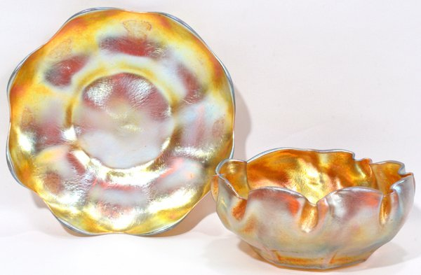 071015: LC TIFFANY GOLD FAVRILE GLASS FINGER BOWL