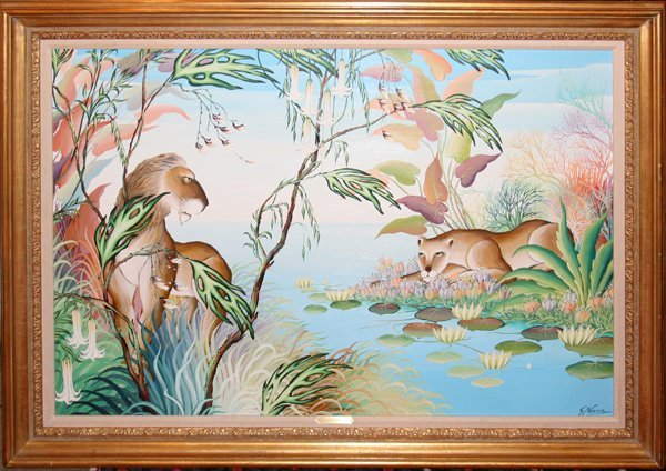 072003: GUSTAVO NOVOA OIL ON CANVAS JUNGLE SCENE