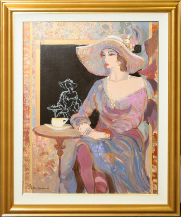 "072006: ISAAC MAIMON ACRYLIC ""LADY AT THE CAFÉ"" 40"""