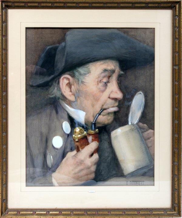 "072008: E.H.POTTHAST W/COLOR ""HAVING A STEIN OF BEER"""