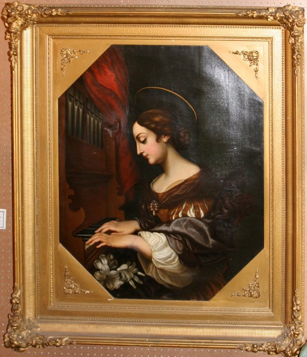 "072009: ITALIAN OR FRENCH SCHOOL OIL ""ST CECILIA"""