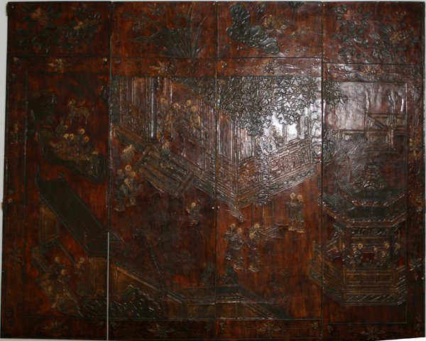 """072298: CHINESE LACQUERED 4 PANEL SCREEN H 72"""" L 63"""""""