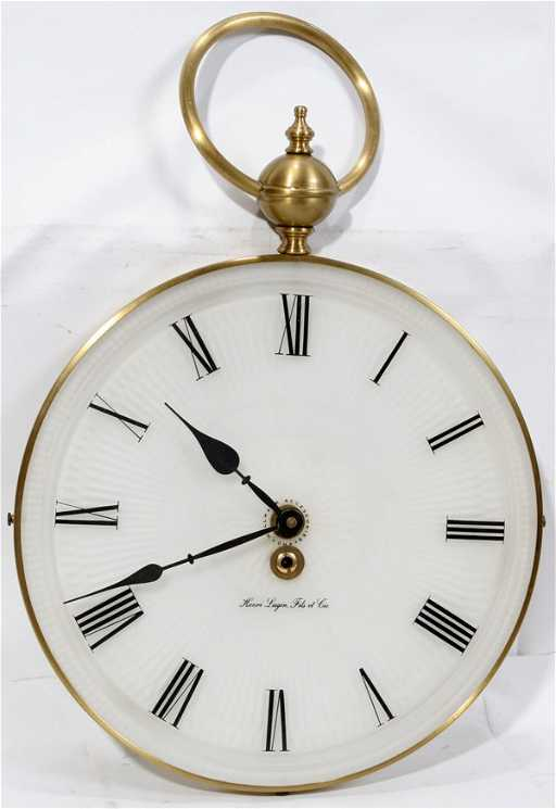 072506 Henri Lagin Fils Et Cie Brass Wall Clock