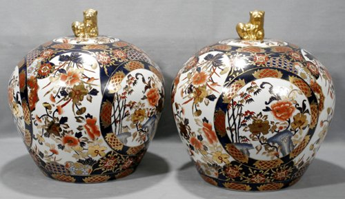 010002: ORIENTAL PORCELAIN ROUND COVERED MELON JARS,2 ,