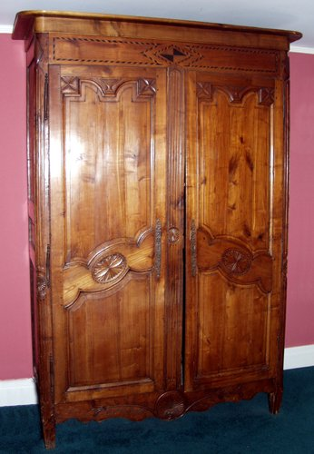 010003: COUNTRY FRENCH CARVED WALNUT ARMOIRE 19TH C., H