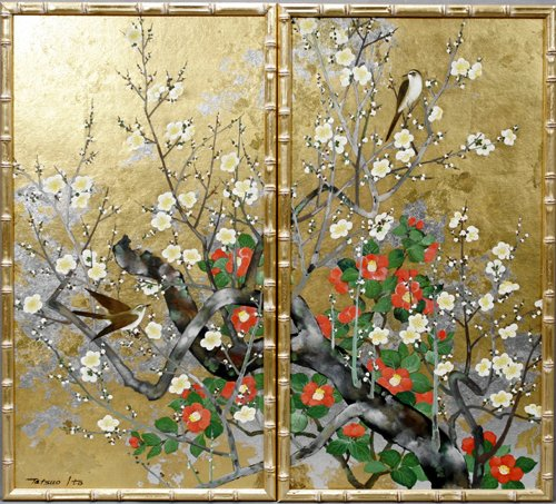 012028: TATSUO ITO, PAIR OF PAINTINGS ON BOARD, GOLD LE