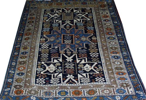 """011015: RUSSIAN WOOL RUG, ANTIQUE, 5' 6"""" X 3' 6"""""""