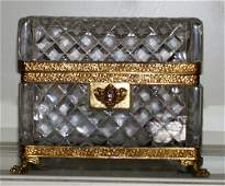 011223 FRENCH HAND CUT CRYSTAL BOX WITH BRASS FRAME C