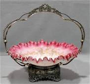VICTORIAN GLASS & SILVERPLATE BRIDE'S BASKET, C