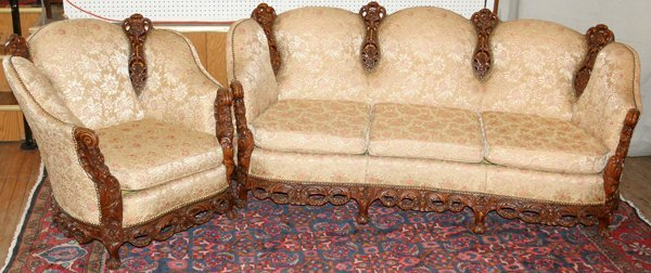080006: FRENCH STYLE CARVED WALNUT ARMCHAIR & SOFA