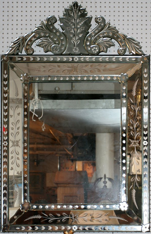 """080007: VENETIAN ETCHED GLASS MIRROR, 50"""" X 32"""""""