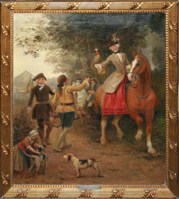 080013: GUSTAVE J. JACQUET OIL WOMAN ON HORSEBACK