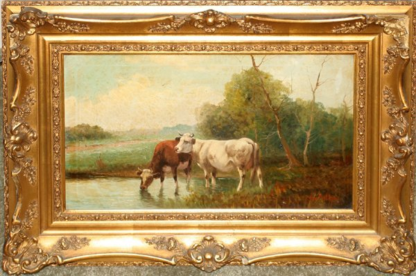 080016: JAN PIETRAS OIL C. 1900 COWS WATERING