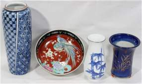 080425: JAPANESE PORCELAIN VASES AND BOWL, 4 PCS.