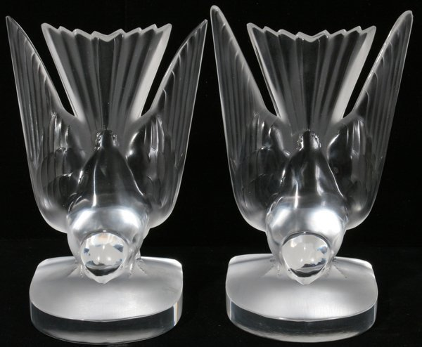081018: LALIQUE 'HIRONDELLE' CRYSTAL BOOKENDS, PAIR