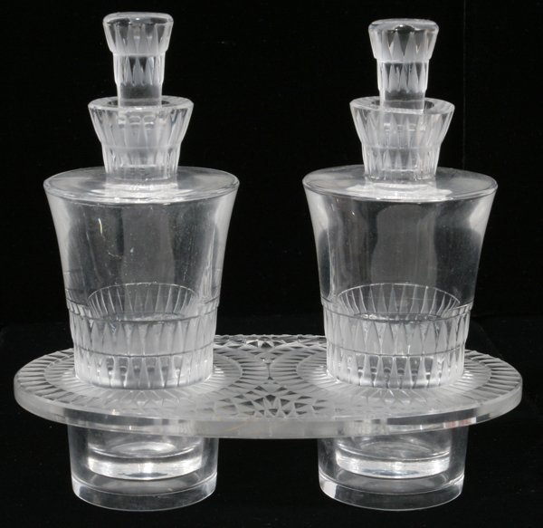 081022: LALIQUE 'BOURGUEIL' CRYSTAL BOTTLES ON STAND