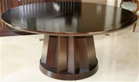 "081239: CUSTOM-MADE WOOD DINING TABLE, MODERN, H 29"""