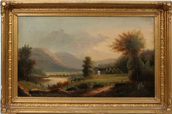 082018: AMERICAN LANDSCAPE, OIL ON CANVAS, 19TH C.