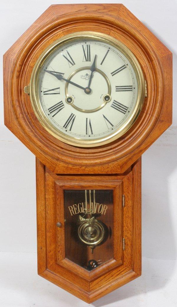 082078: D & A REGULATOR OAK WALL CLOCK, KEY WIND