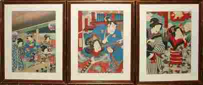 082444 JAPANESE UKIYOE WOODBLOCK PRINTS ACTORS