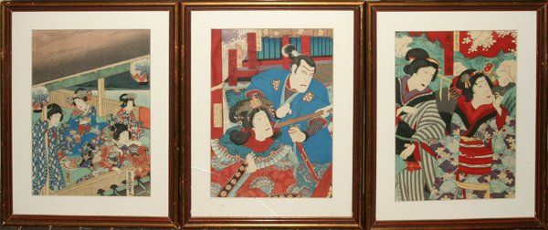 082444: JAPANESE UKIYO-E WOODBLOCK PRINTS, ACTORS