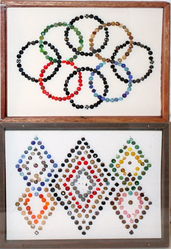 093013: COLORFUL BUTTONS, TWO FRAMED COLLECTIONS