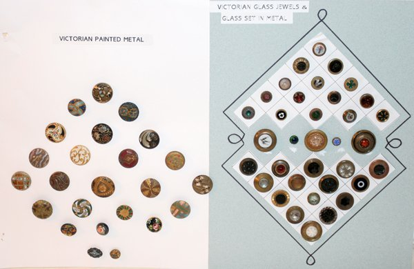 093021: VICTORIAN METAL & GLASS-JEWELED BUTTONS