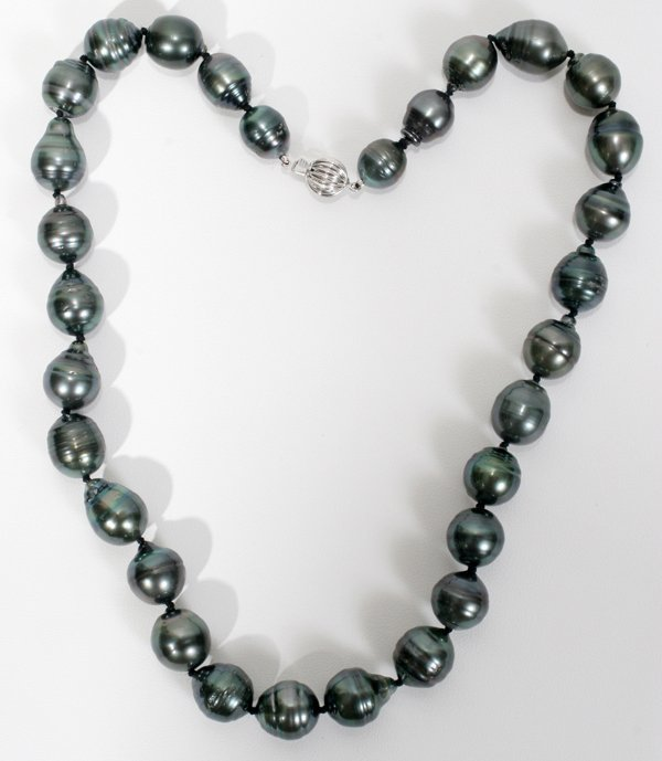 090001: BLACK 11 MM, TAHITIAN BAROQUE PEARL NECKLACE