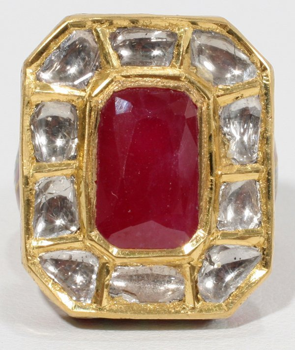 090011: 6.50 CT. RUBY & 1.50 CT. SIDE DIAMOND RING
