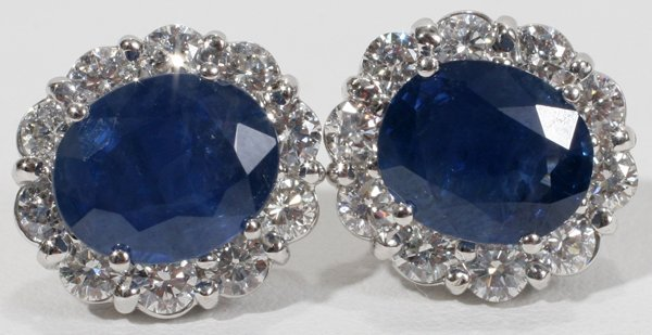 090018: 5.51CT SAPPHIRE & DIAMOND EARRINGS, L 1/2""
