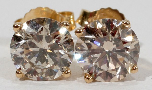 090020: 14KT GOLD & 2.5CT DIAMOND STUD EARRINGS