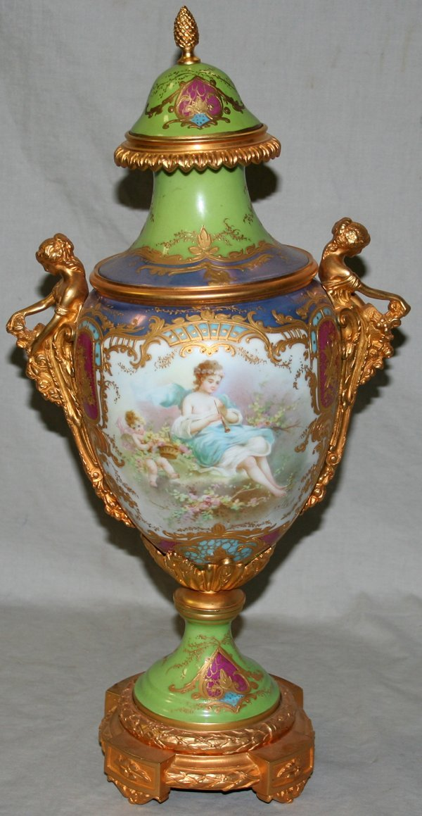 090022: SEVRES PORCELAIN & DORE BRONZE COVERED URN