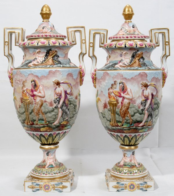 090023: FRENCH PORCELAIN COVERED URNS, C1950, PAIR