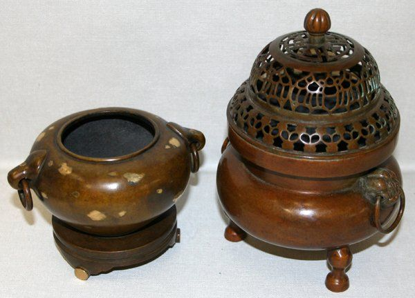 090225: CHINESE BRONZE INCENSE BURNERS, TWO PIECES