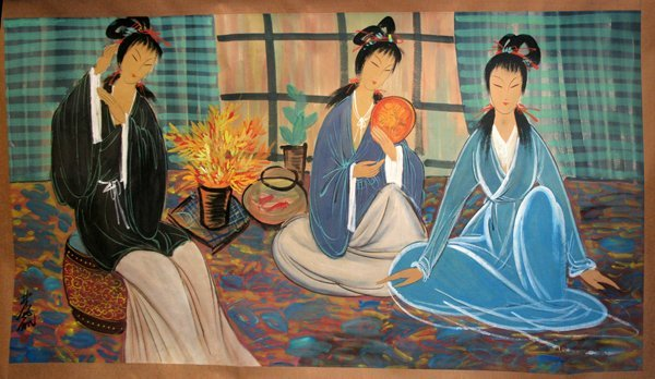 090233: CHINESE SCROLL, THREE SEATED WOMEN