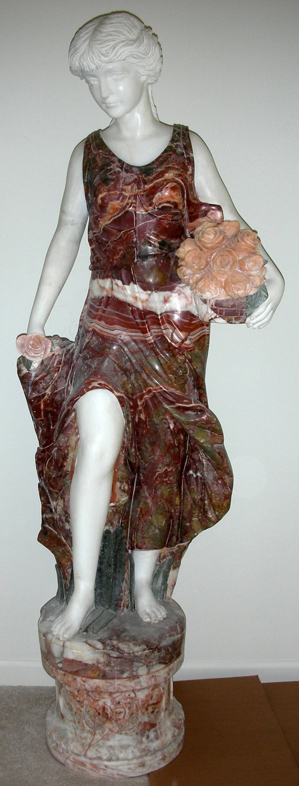"""091013: CARVED MARBLE SCULPTURE H 59"""" W 22"""", 'SPRING'"""