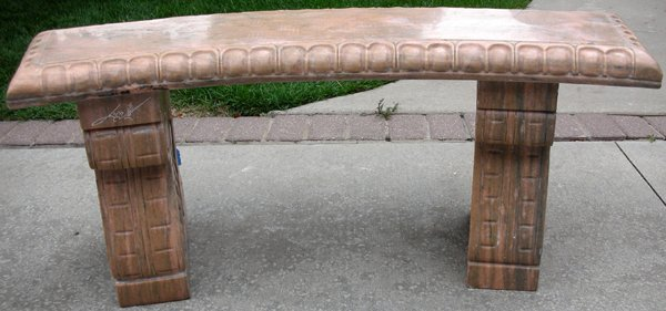 """091019: CURVED MARBLE GARDEN BENCH, 20TH C L 43"""""""