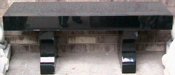 """091023: POLISHED BLACK MARBLE GARDEN BENCH L 48 1/2"""""""