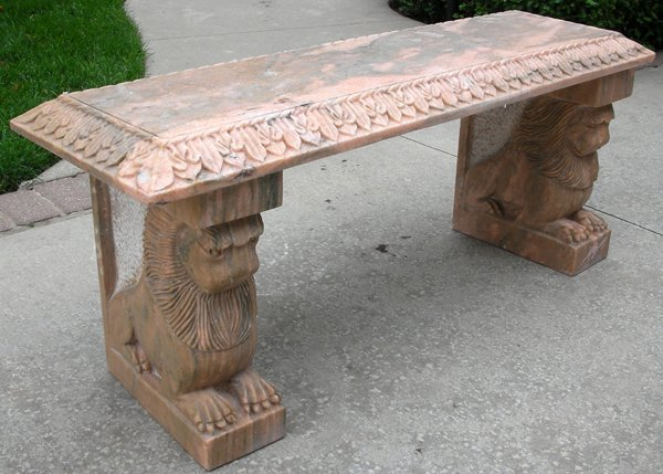 """091024: MARBLE BENCH W/LION SUPPORTS, 20TH C L 43"""""""