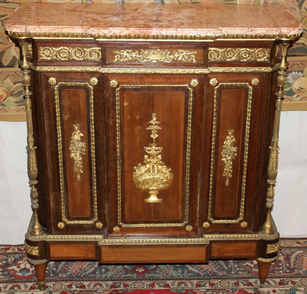 """091027: FRENCH COMMODE MARBLE TOP 19TH C H 42"""", W 41"""""""