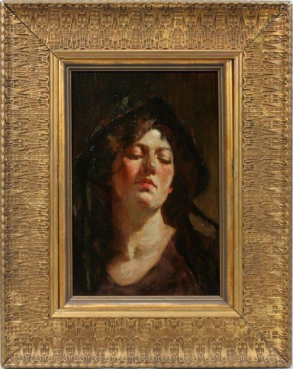 092001: MATHIAS JOSEPH ALTEN OIL PORTRAIT OF A LADY