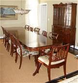 092147: HEPPLEWHITE STYLE MAHOGANY DINING ROOM SET