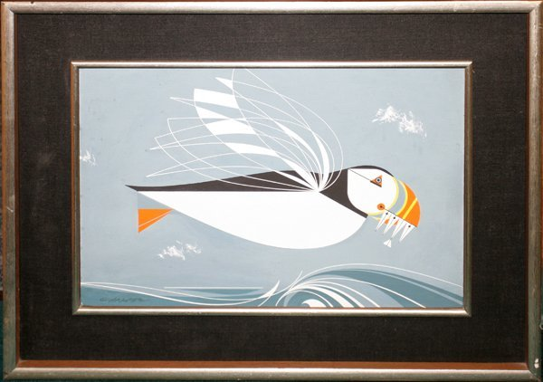 """092402: CHARLES HARPER OIL ON CANVAS """"PUFFIN"""""""