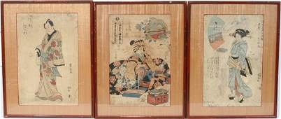 092567 UKIYOE COLOR WOODBLOCK PRINTS 3 19TH C