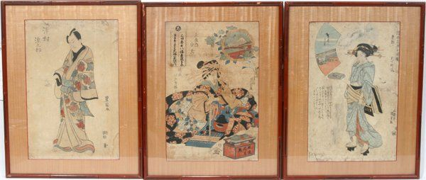 092567: UKIYO-E COLOR WOODBLOCK PRINTS, 3, 19TH C.
