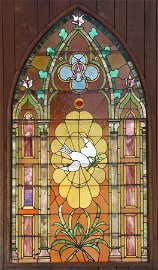 STAINED & SLAG LEADED GLASS WINDOW, C. 1920