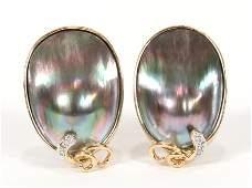 PEARLS, DIAMOND, GOLD, EARRINGS W/ OMEGA CLIP