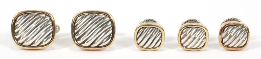 DAVID YURMAN GOLD & STERLING CUFFLINKS AND SET